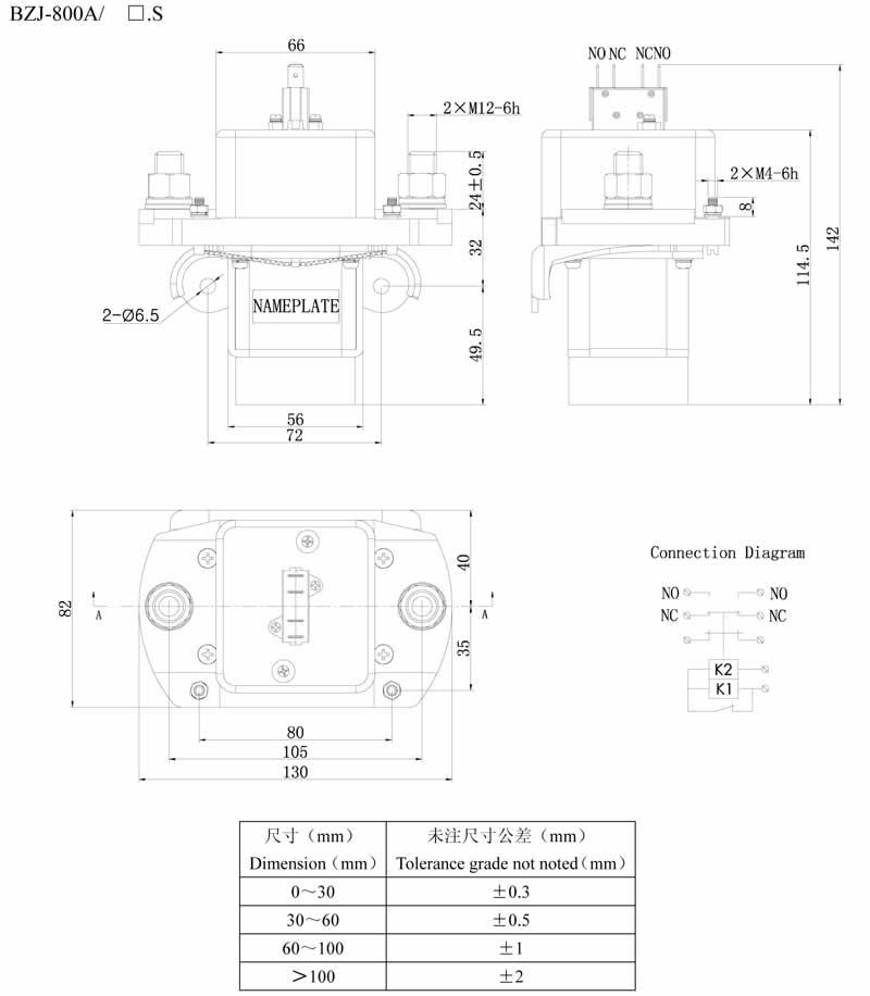 DC Contactor BZJ-800A - China Dongya Electronic